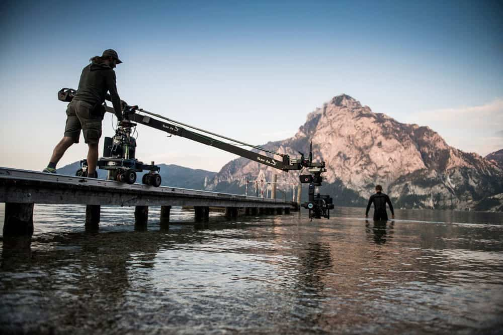 film shoot at the Traunsee